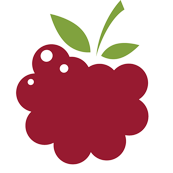 an icon-style raspberry with brick red fruit and green leaves, symbolizing Berry Interesting Productions, Inc.